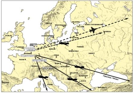 Von der NATO-Kommandozentrale in Kalkar ließe sich ein Luftkrieg steuern. Die Himmelsrichtung ist klar: Osten; Graphik via VVN-BdA