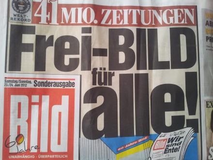 """""""Bild"""" verschenkt schon einmal großzügig 41 Millionen Zeitungen. Aber viele Menschen verzichten auch das Schmierblatt; Foto: Stille"""