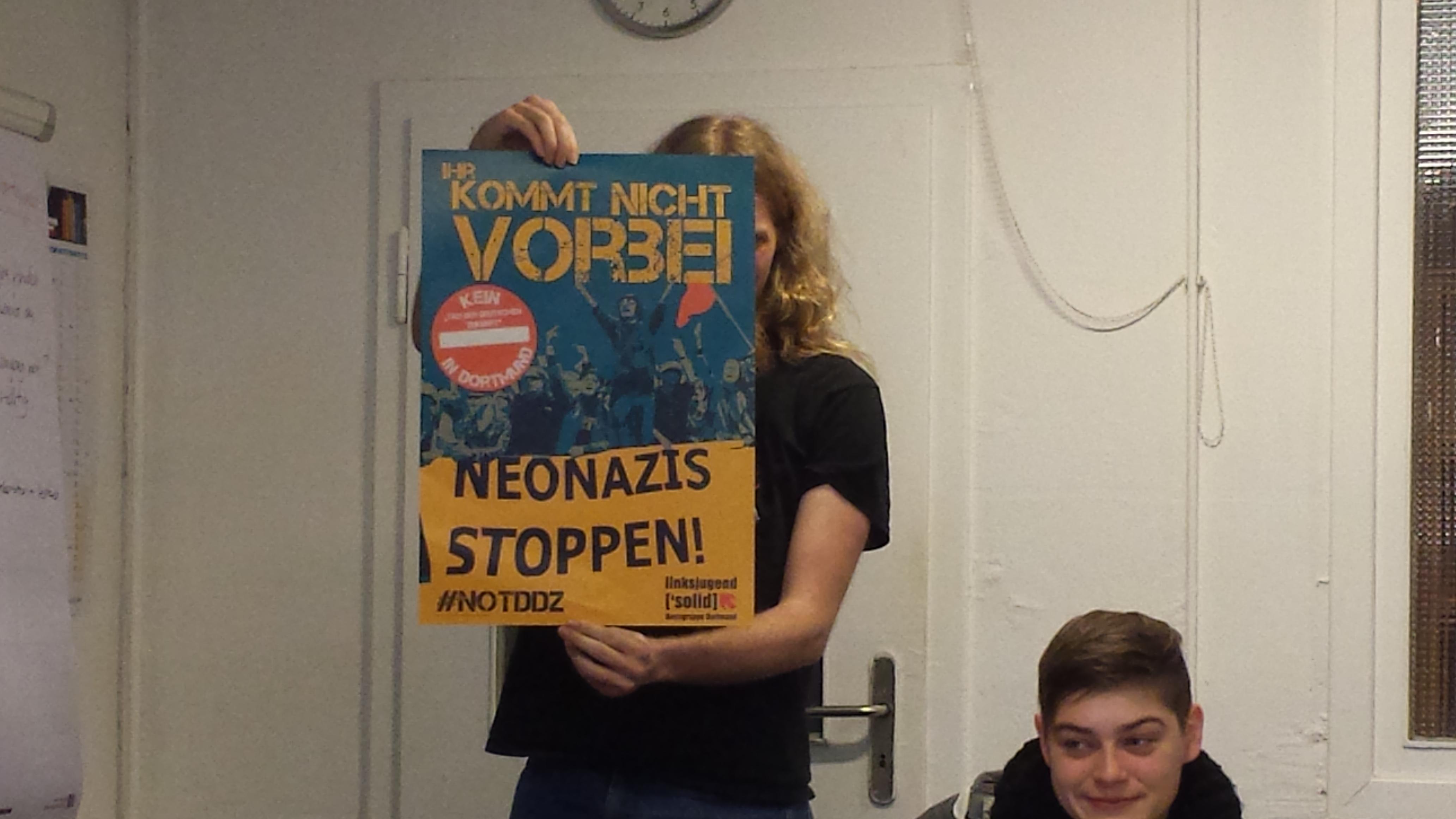 """Der """"Werbeblock"""" am Ende der Veranstaltung für kommende Aktionen in Dortmund."""