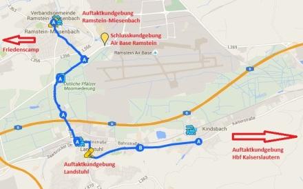 Die Strecke der Menschenkette; via StoppRamstein.