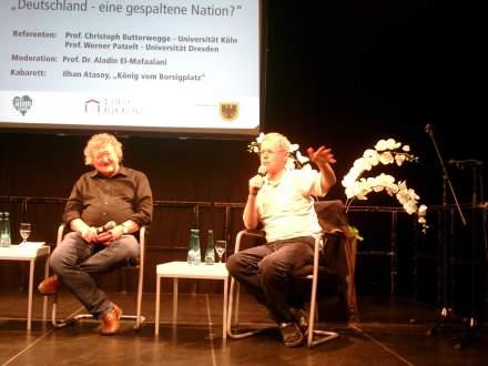 Gäste beim Talk im Dietrich-Keuning-Haus: Prof. Werner Patzelt (links) und Prof. Christoph Butterwegge (rechts); Fotos: C.-D. Stille