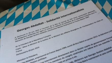 Bereits 2014 ging eine Initiative für die Freilassung von Abdallah von Dortmund aus. Ein Brief wurde an den Frankreichs Präsidenten gesendet. Die Reaktion war gleich null.
