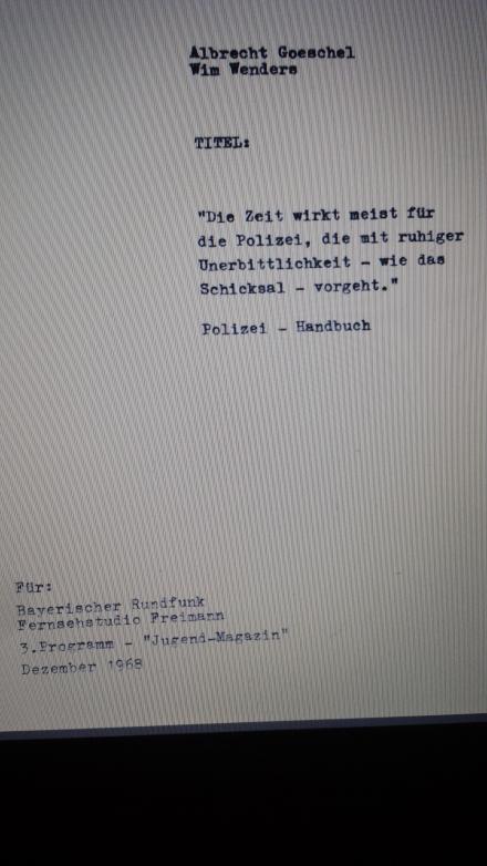 Orginaldeckblatt Drehbuch; Scan der Akademie und Institut für Sozialforschung Verona.