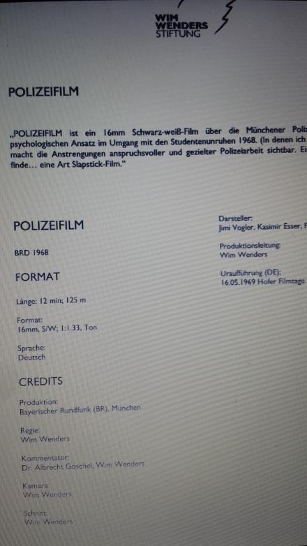 So führte die Wim Wenders Stiftung bislang den Film; Scan der Akademie und Institut für Sozialforschung Verona.